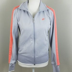 Nike Med Grey & Coral zip up athletic jacket